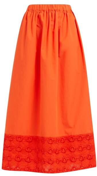 Fendi High Rise Broderie Anglaise Cotton Midi Skirt - Womens - Orange