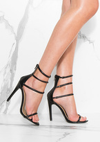 Missy Empire Eliotte Black Triple Strap Heels