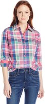Caribbean Joe Women's Three Quarter Sleeve with Roll Cuff Plaid Button Up Shirt