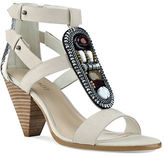 Nine West Beaded Snake-Embossed Leather Wedge Sandals