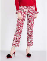 Oscar De La Renta Graphic Leaves Cropped Stretch-gabardine Trousers