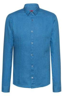Extra-slim-fit linen shirt with dyeing treatment