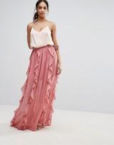 Boohoo Ruffle Detail Chiffon Maxi Skirt