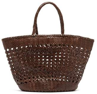 Dragon Optical Diffusion - Carnage Extra-large Woven Leather Basket Bag - Womens - Dark Brown