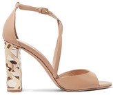 Burberry Metallic-trimmed Leather Sandals - Neutral