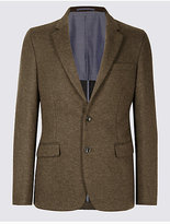 M&S Collection Brown Textured Slim Fit Jacket