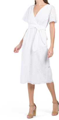 Tie Waist Eyelet Midi Dress