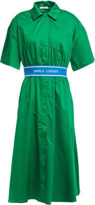 Sandro Fiane Jacquard Knit-trimmed Cotton-poplin Midi Shirt Dress