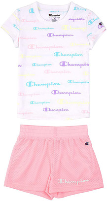 Champion Girls' Active Shorts WHITE/PINK - White Repeating Logo Tee & Pink Candy Mesh-Lined Shorts - Toddler & Girls