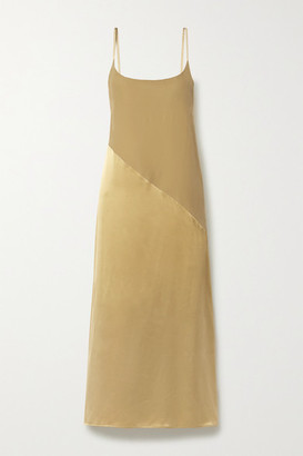 ASCENO Net Sustain Lisbon Silk-crepe And Satin Nightdress - Gold