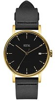 Vestal 'Sophisticate 36' Swiss Quartz Stainless Steel and Leather Dress Watch, Color:Black (Model: SP36L02)