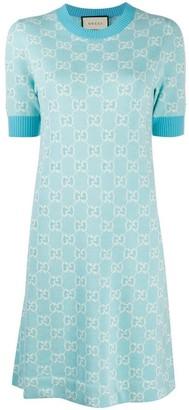Gucci Light Blue GG Jacquard Dress