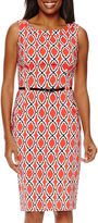 London Times London Style Collection Sleeveless Print Sheath Dress