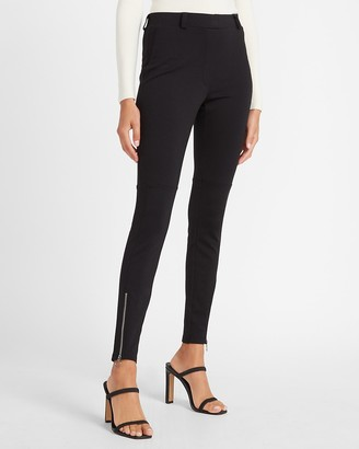 Express High Waisted Zip Ankle Ponte Leggings