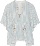 Etoile Isabel Marant Joy Embroidered Striped Cotton Top - Sky blue