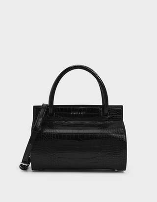 Charles & KeithCharles & Keith Croc-Effect Double Top Handle Structured Bag