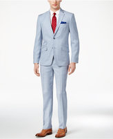 Ben Sherman Men's Slim-Fit Light Blue Shadow Plaid Suit