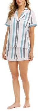 Alfani Women's Striped Pajama Shorts Set, Created for Macy's
