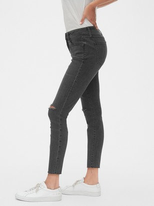 Gap Mid Rise Curvy Distressed True Skinny Ankle Jeans