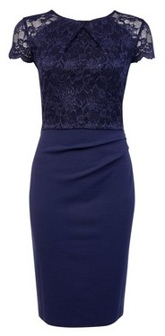 Dorothy Perkins Womens Blue Lace Top Ruched Bodycon Dress, Blue