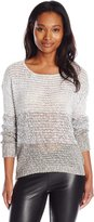 RD Style Women's Ombre Tape Yarn Crewneck Textured Sweater