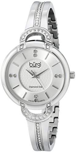 Burgi Women's Pure Elegance Diamond Watch with Silver Dial and Crystal-Accented Case, and Bracelet BUR105SS