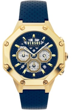 Versus By Versace Men's Chronograph Palestro Blue Leather Strap Watch 45mm