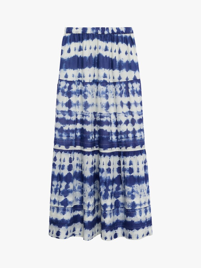 Thumbnail for your product : MANGO Tie Dye Tiered Maxi Skirt, Ecru