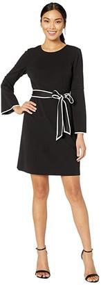 Adrianna Papell Knit Crepe A-Line Dress w/ Contrast Trim Detail (Black/Ivory) Women's Dress