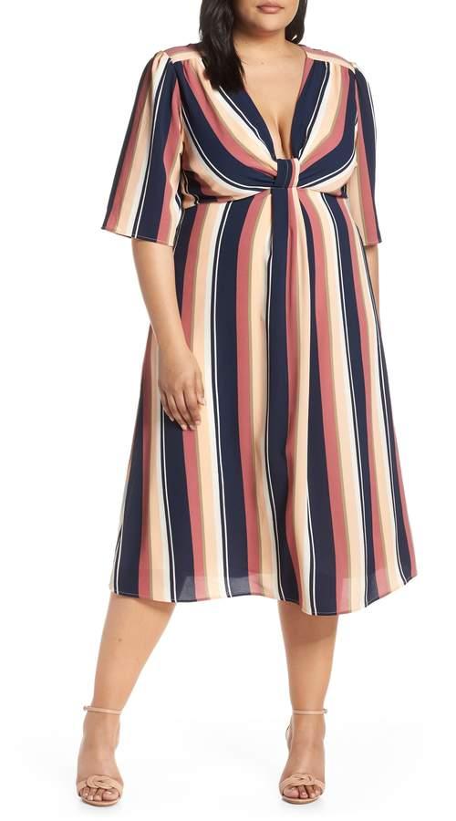 Leith Deep V-Neck Stripe Midi Dress
