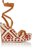 Gianvito Rossi Women's Southwestern-Embroidered Wedge Sandals-BROWN