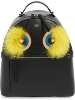 Fendi 'Monster' Leather Backpack with Genuine Fox Fur & Snakeskin Trim