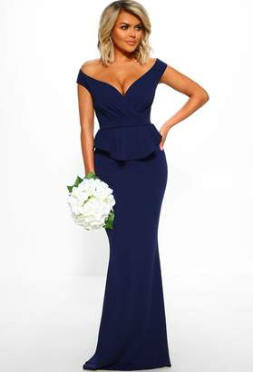 Pink Boutique Met Gala Goals Navy Cross Over Peplum Maxi Dress