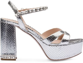 Miu Miu Python-Effect Metallic Leather Sandals