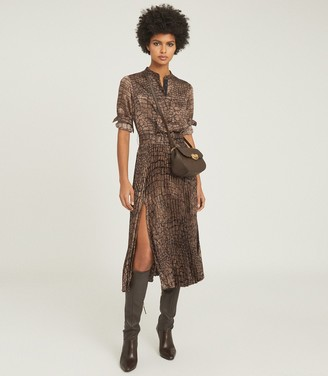 Reiss AVIANNA CROC PRINT MIDI DRESS Brown