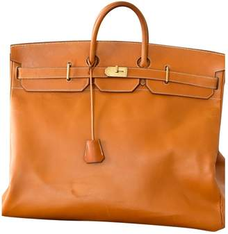 Hermes Haut a Courroies Gold Leather Travel bags