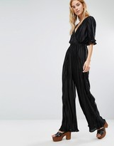 Fashion Union V-Neck Jumpsuit In Plisse