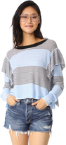 Wildfox Couture Aura Striped Ruffle Sweater