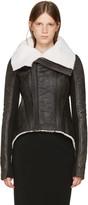 Rick Owens Black Shearling Naska Biker Jacket