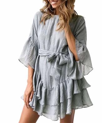 Jurebecia Casual Dresses for Women Plain Dresses Long Sleeve V Neck Tie Waist Dresses Ruffle Short Dresses Green XL