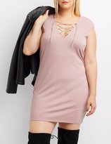 Charlotte Russe Plus Size Lace-Up Bodycon Dress