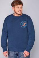Yours Clothing BadRhino Blue State Finals Heavyweight Printed Vintage Sweatshirt - TALL