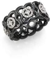 De Beers Moonlight Enchanted Lotus Diamond, 18K White Gold & Black Ceramic Band Ring