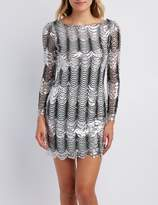 Charlotte Russe Scalloped Sequins Bodycon Dress