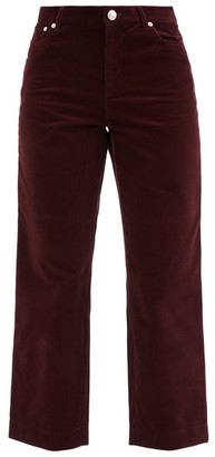 A.P.C. New Sailor High-rise Cotton-corduroy Cropped Jeans - Burgundy