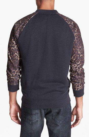 Topman Bomber Jacket with Leopard Print Sleeves