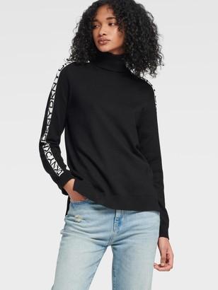 DKNY Women's Turtleneck With Step Hem - Black/Ivory - Size XX-Small
