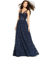 Adrianna Papell Floral Embroidered Illusion Gown