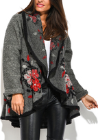 Everest Gray & Red Floral Swing Coat - Plus Too