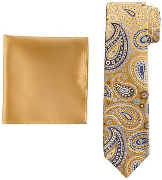 Pierre Cardin Men's Reversible Skinny Tie & Pocket Square Set